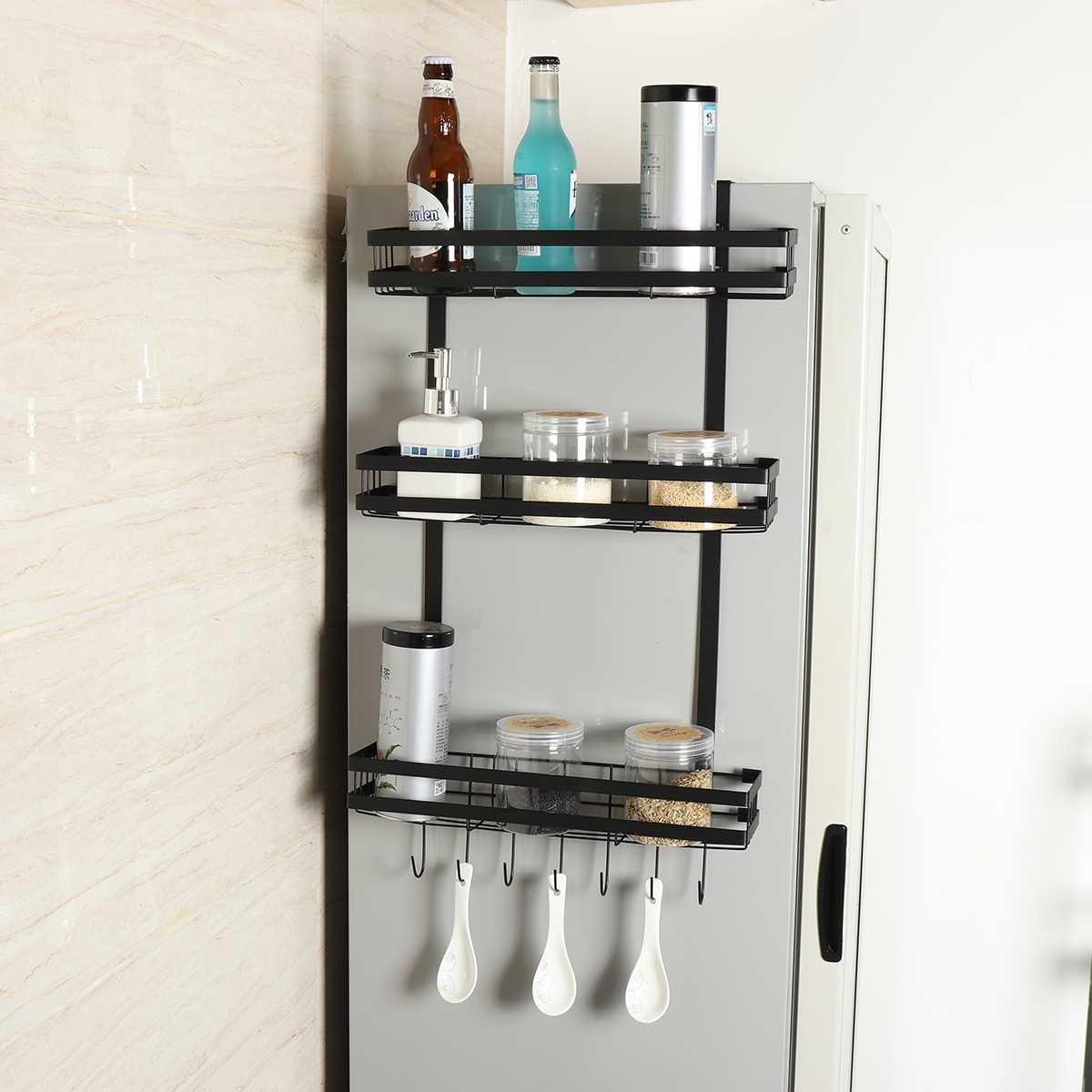 Soporte para colgar en la pared lateral del refrigerador, Ahorrador de Espacio de cocina, estante de almacenamiento para refrigerador, estante organizador multifuncional