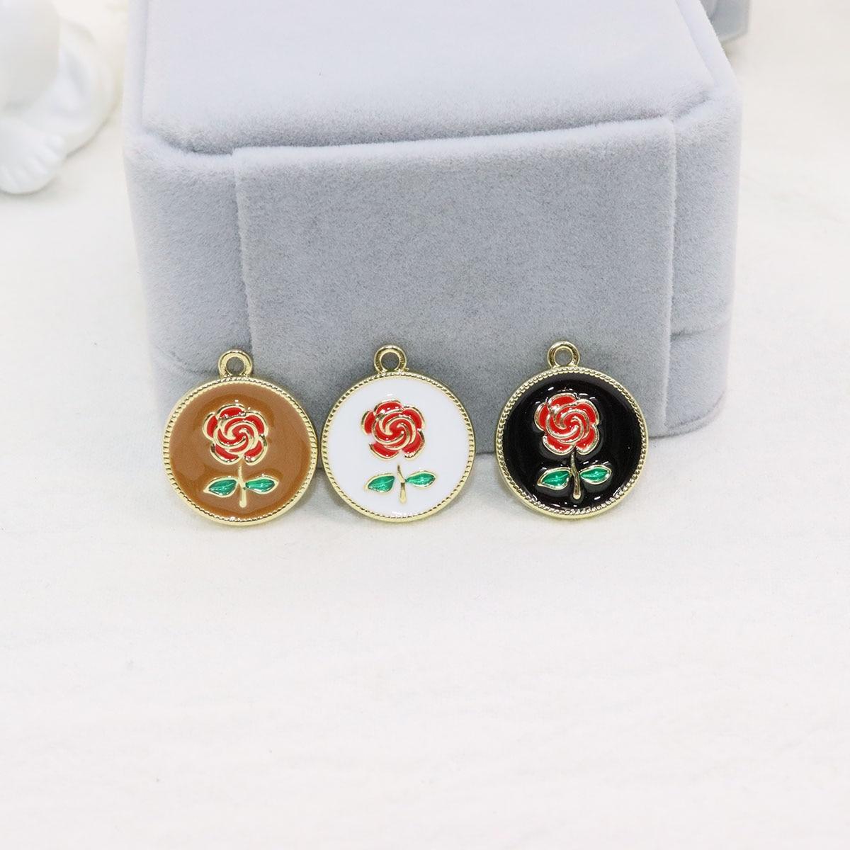 Eruifa 6 шт. 18 мм красивая эпоксидная роза цветок цинковый сплав ювелирные изделия DIY Подвески ожерелье, серьги браслет 2 цвета