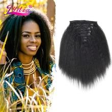 Лидия 8 шт./компл. With18Clips-In из искусственных волос Кудрявые прямые волосы на заколках длинные термостойкие Hair-Pieces16-20 афро американский