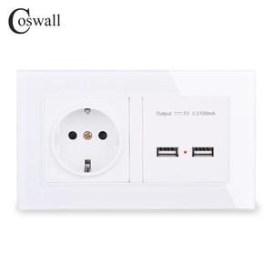 Image 1 - COSWALL Steckdose EU Standard Steckdose Mit Dual USB Smart Induktion Ladung Port Für Mobile 2,1 EINE Kristall Glas panel