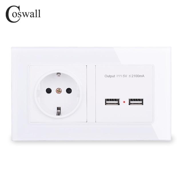 COSWALL Steckdose EU Standard Steckdose Mit Dual USB Smart Induktion Ladung Port Für Mobile 2,1 EINE Kristall Glas panel