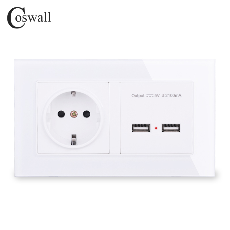 COSWALL Wall Socket EU Standard Power Outlet With Dual USB Smart Induction Charge Port For Mobile 2.1A Crystal Glass Panel