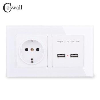 Coswall tomada de parede padrão da ue tomada com dupla usb inteligente indução carga porto para móvel 2.1a painel vidro cristal