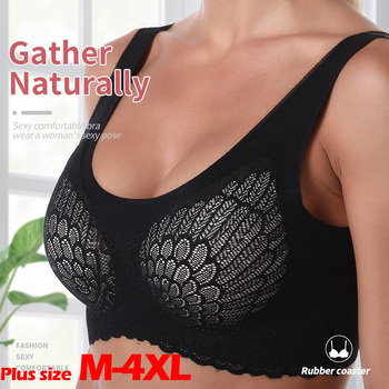 VIP Link Bra For Women Seamless Plus Size Bras With Gathers Pad Lace Bh Comfortable Bralette Push Up Brassiere Bra Vest Wireless 1