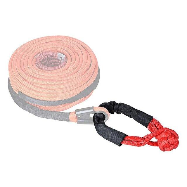 1 pièces 35,000 Lbs synthétique souple manille pour voiture Flexible ATV treuil corde remorquage récupération sangles 16T bleu/rouge/noir Nylon câble