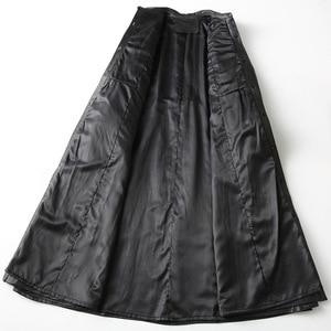 Image 4 - Gabardina de piel auténtica para mujer, abrigo largo sencillo de piel de oveja, color negro clásico, chaquetas con cuello vuelto para oficina