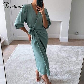 DICLOUD Long Women Knitted Wrap Dress 5