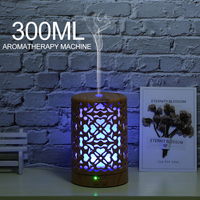 300 ml Luftbefeuchter holz Hohl zylinder Elektrische Ätherisches Öl Aroma Air Diffusor mit 7 farbe LED nacht licht für hause-in Luftbefeuchter aus Haushaltsgeräte bei