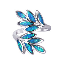 KELITCH Jewelry 1Pcs Newest Style Multi-Color Leaf Shape Opal Ring Easy Wear Blue Fire Opal Stone Wedding Ring Set For Women chic blue bead and leaf shape embellished retro ring for women
