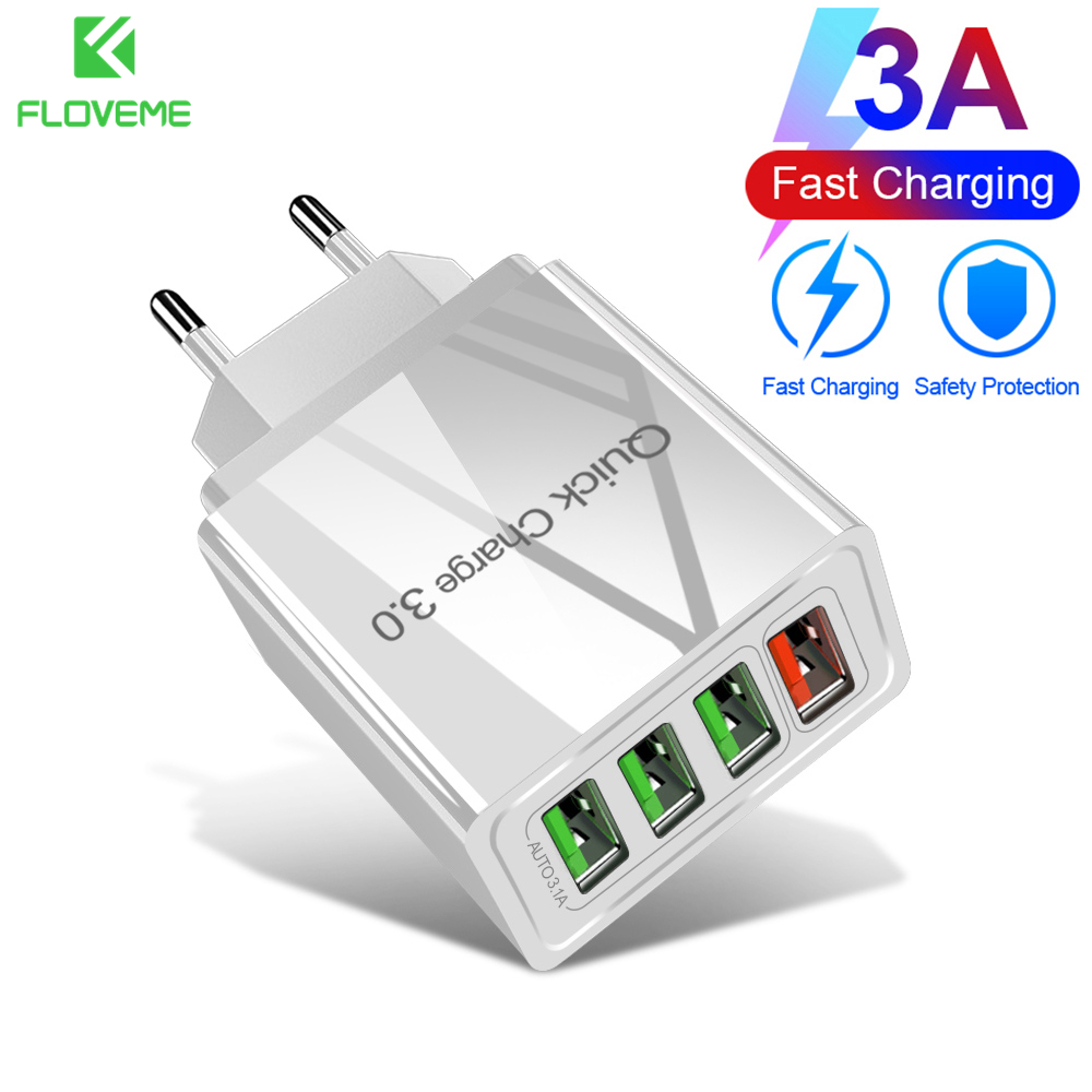 FLOVEME EU/US/UK Plug USB Charger 4 Ports Quick Charge 3.0 For Phone Fast Charger Adapter Portable Travel Wall Mobile Charger