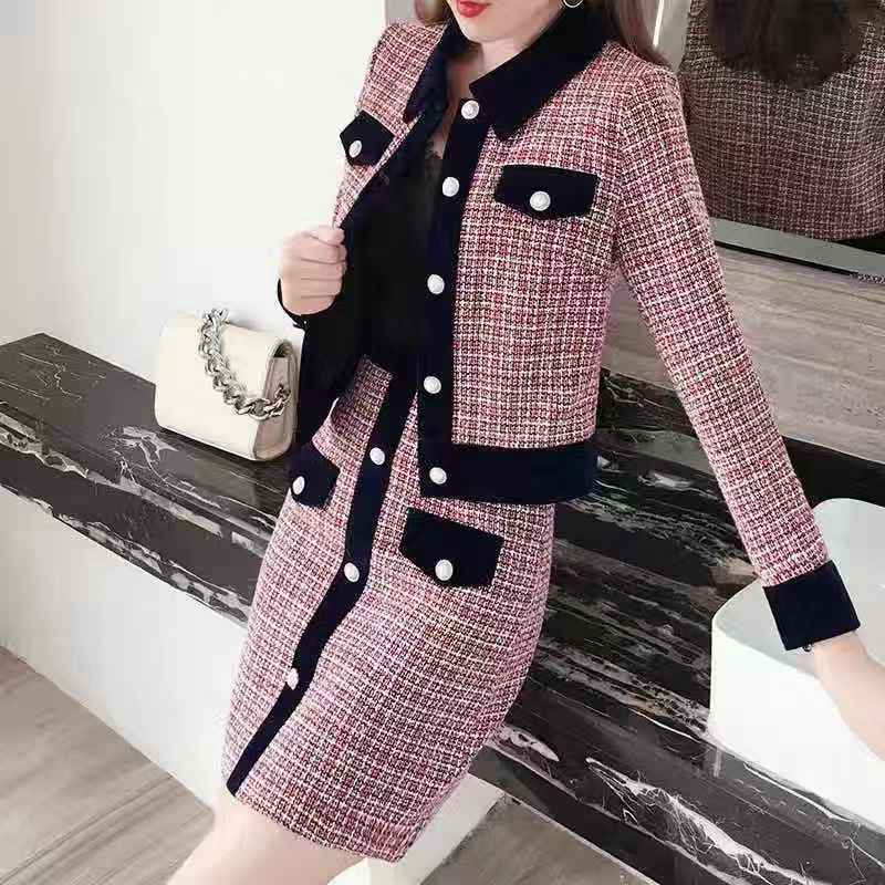2020 New design woolen denim top and printed ladies skirt dresses set one pieces dresses for women ladies skirt set supplier(China)