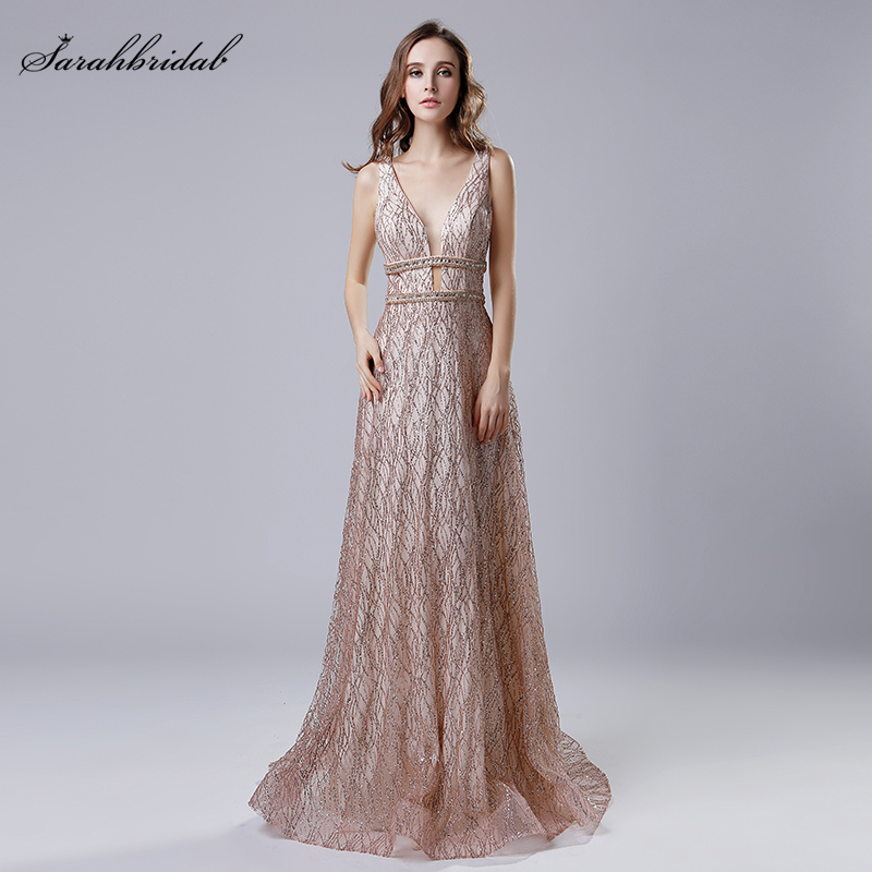 Long Formal Evening Dresses V Neck Sequined Tulle Elegant Party Gown Beads Sleeveless Backless Women Robe De Soiree Cheap LSX541