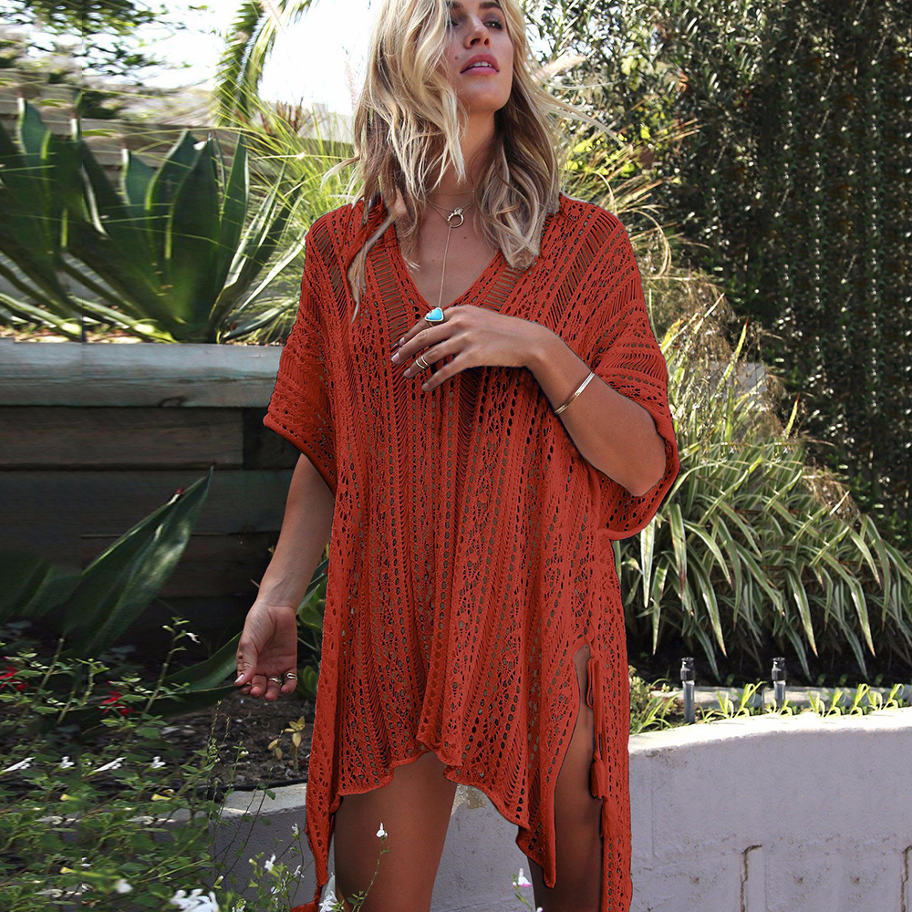 New Knitted Beach Cover Up Women Bikini Swimsuit Cover Up Hollow Out Beach Dress Tassel Tunics Bathing Suits Cover-Ups Beachwear 14