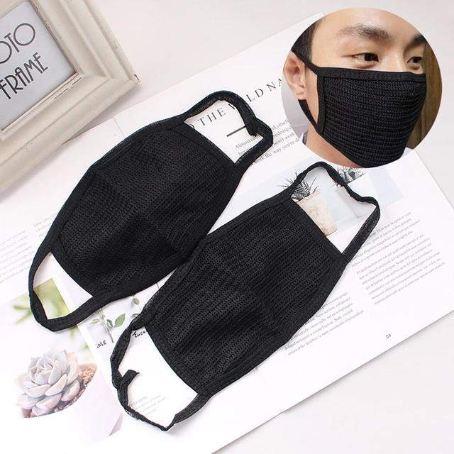 * Cotton PM2.5 Black mouth Mask anti dust mask Activated carbon filter Windproof Mouth-muffle bacteria proof Flu Face masks Care 1