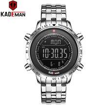 KADEMAN 849 TOP Luxus Herren Uhren Tech Marke Qualität Sport Schritt Zähler Digitale Uhr 3ATM Voller Stahl LCD Military Armbanduhr