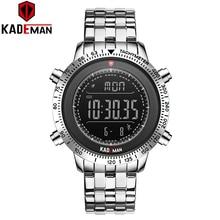 Kademan 849 topo de luxo dos homens relógios tecnologia marca qualidade esporte passo contador relógio digital 3atm aço completo lcd militar relógio pulso