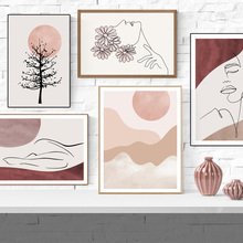 Flower Girl Face Line Tree Abstract Landscape Wall Art Canvas Painting Nordic Posters Prints Wall Picture For Living Room Decor flower tree abstract canvas painting wall art posters and prints wall home decor art picture for living room bedroom decoration