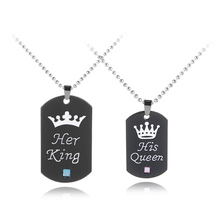 New Letter Pendant Necklace Fashion Crown Couple Accessories