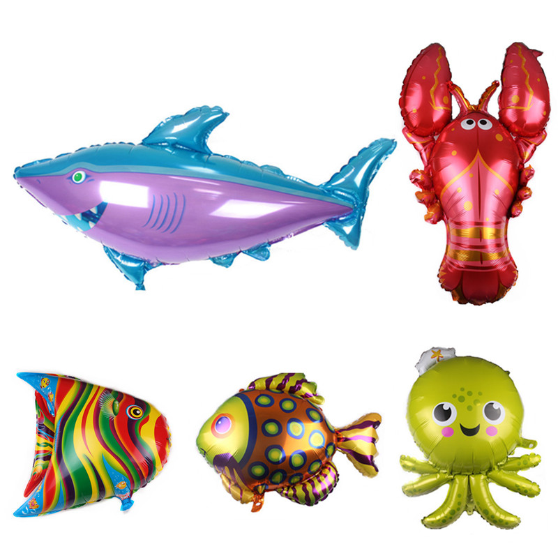 Cartoon Hat Fish Animal Balloons Birthday Party Shark Lobster Octopus ClownFish Air Balaos Sea Theme Party Birthday Decor