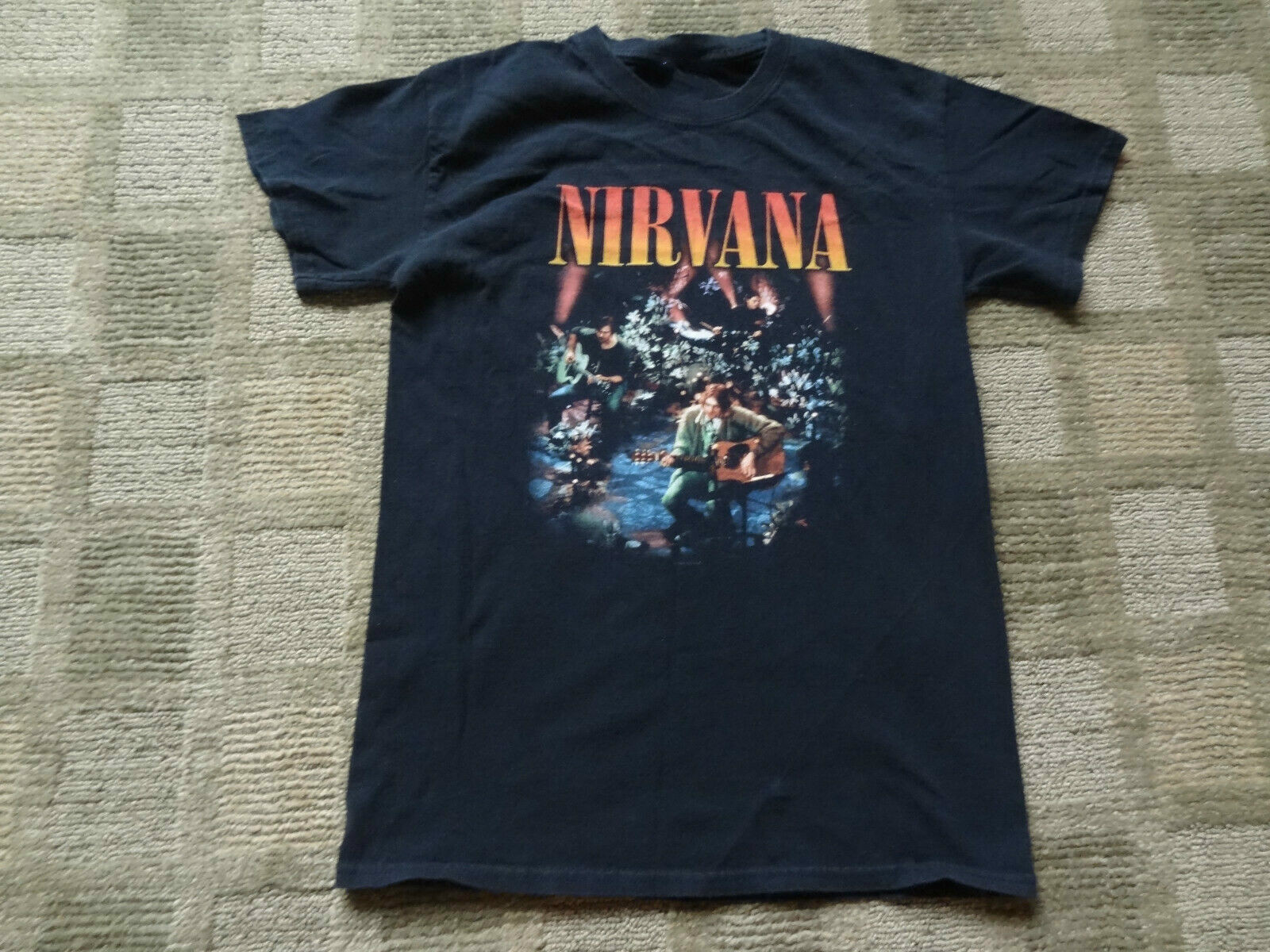 2008 Nirvana Black Unplugged T-Shirt Men's Small Tour Band