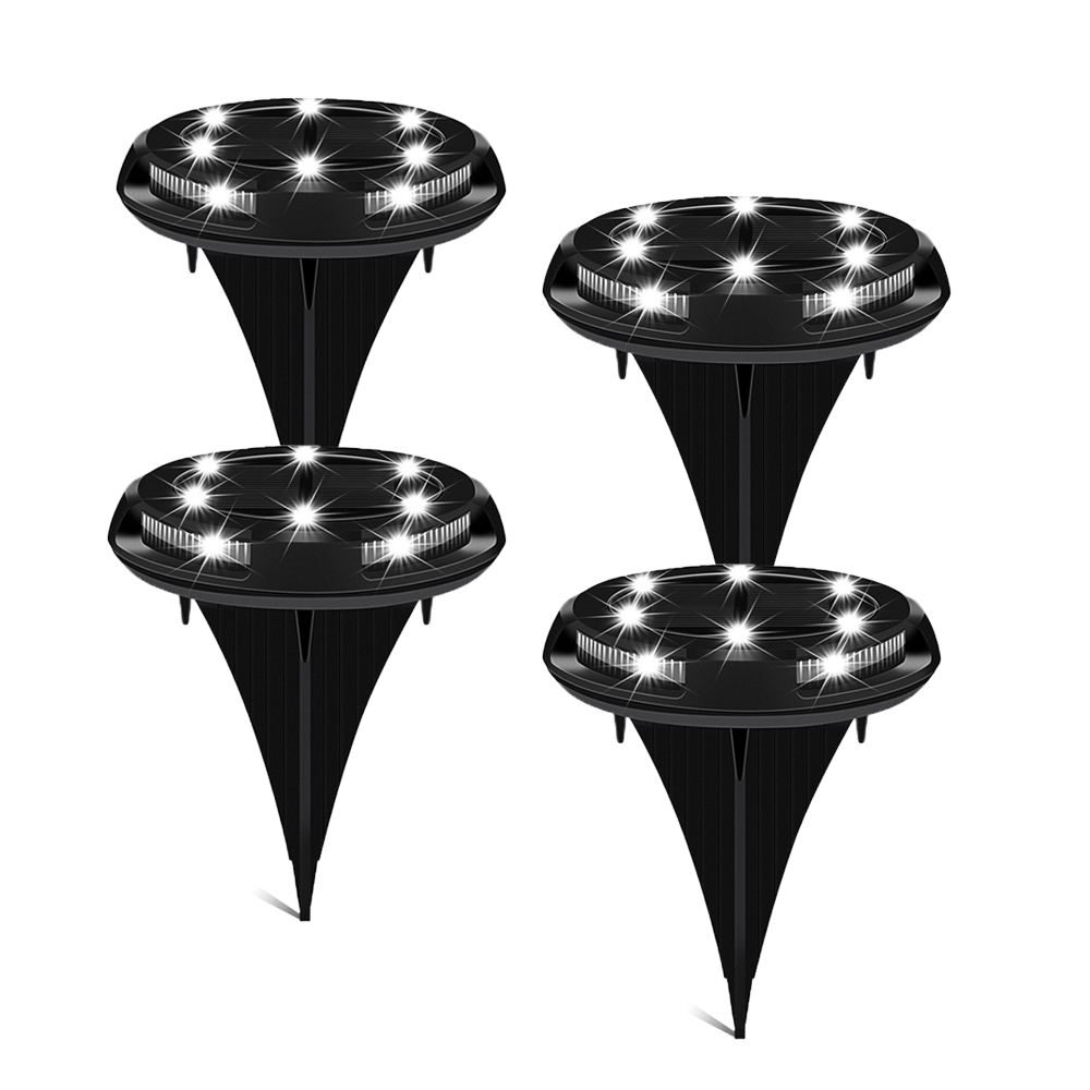 New 4Pcs Waterproof IP67 10LED 5050 Solar Underground Lights Outdoor Floor Garden Path Ground Lights New Black Solar Lawn Light