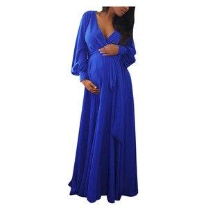 Maternity Dress Pregnant Women Maxi Dresses For Photo Shoot Elegant Long Sleeve V Neck Nursing Dress Grossesse Roupas Vestidos