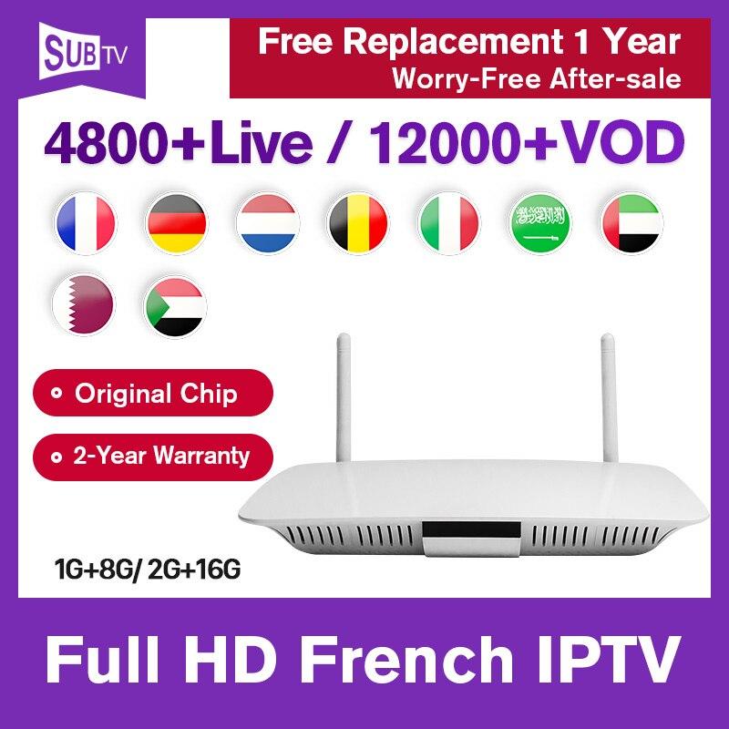 Allemagne IPTV France box Q1404 Android 8.1 récepteur de télévision Leadcool 1 an SUBTV IPTV français Portugal allemand abonnement IP TV
