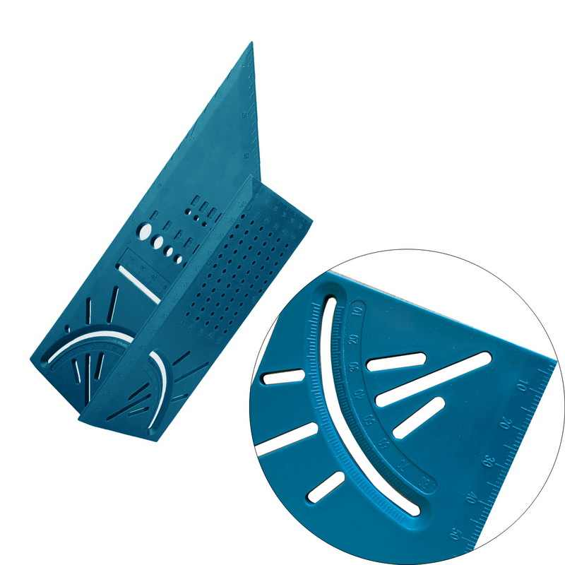 3D 측정 스퀘어 크기 목공 측정 도구 라인 90도 게이지 T 형 통치자 구멍 Scribing 게이지