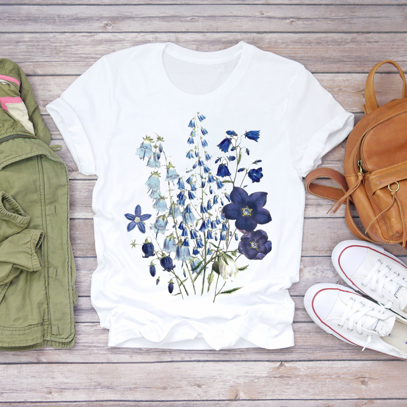 Women 2020 Summer Short Sleeve Floral Flower Printing Lady T-shirts Top T Shirt Ladies Womens Graphic Female Tee T-Shirt