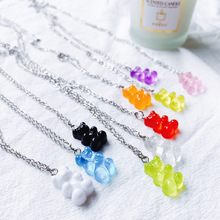 Pendant Necklaces Jewelry Gifts Bear-Chain Cartoon Girl Women for Daily Party Candy-Color