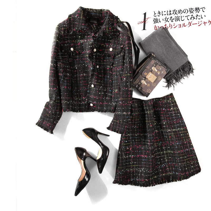 Fashion Sweet Graceful Woolen Set Single Breasted Mid-length Japanese-style Sided Nigeria Online Celebrity Autumn And Winter WOM