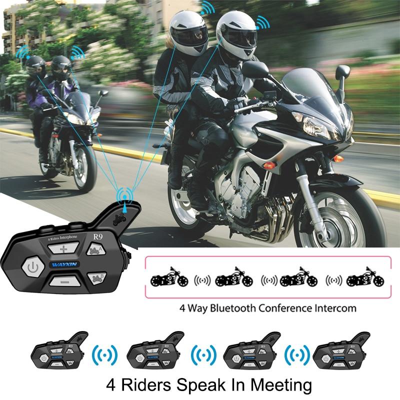 2PCS Motorrad Intercome 4 Fahrer reden Gleiche Zeit Helm Headsets Bluetooth Intercom Für Motorrad FM Intercom Motorrad
