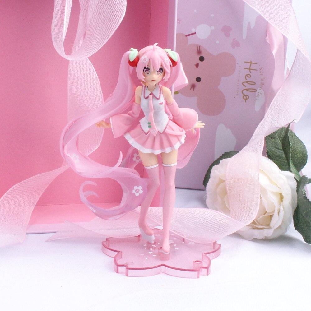 14cm anime rosa sakura figuras de ação brinquedos meninas figura pvc modelo brinquedos presente