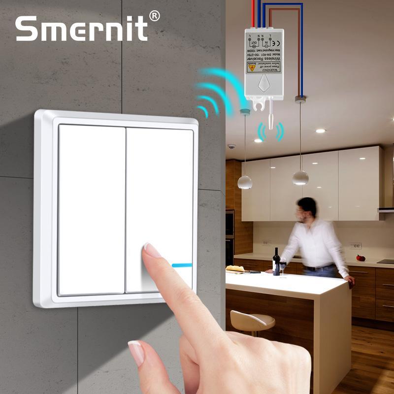 Interruptores de luz remotos à prova dwireless água interruptor de luz sem fio-nenhuma fiação rápida criar lâmpadas de teto de controle remoto
