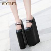 SDTRFT Crossdresser Stilettos Cosplay Unique lolita Round Toe shoes women 30cm ultra high heels platform Wedges Goth punk pumps