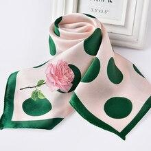 여자를위한 100% 진짜 실크 스퀘어 스카프 인쇄 두건 자연 실크 Headscarf kerchief 작은 Suqare 실크 스카프 헤어 스카프 65x65cm