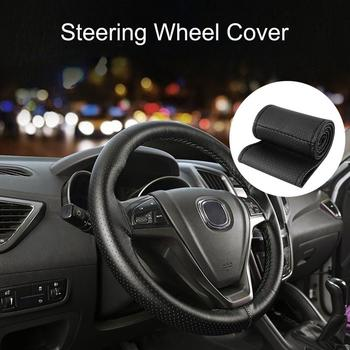 Steering Wheel Cover Breathable Comfortable Non-slip Universal PU Leather Car Steering Wheel Cover With Needles Vehicle Cover image