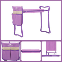 purple-Garden Kneeler and Seat Folding Stainless Steel Garden Stool with Tool Bag