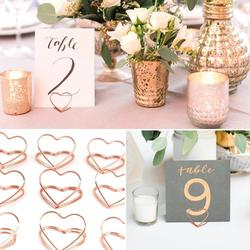 Staraise 10pcs Rose Gold Romantic Heart Shape Metal Photo Clips Wedding Desktop Decoration  Table Number Stand Party Supplies