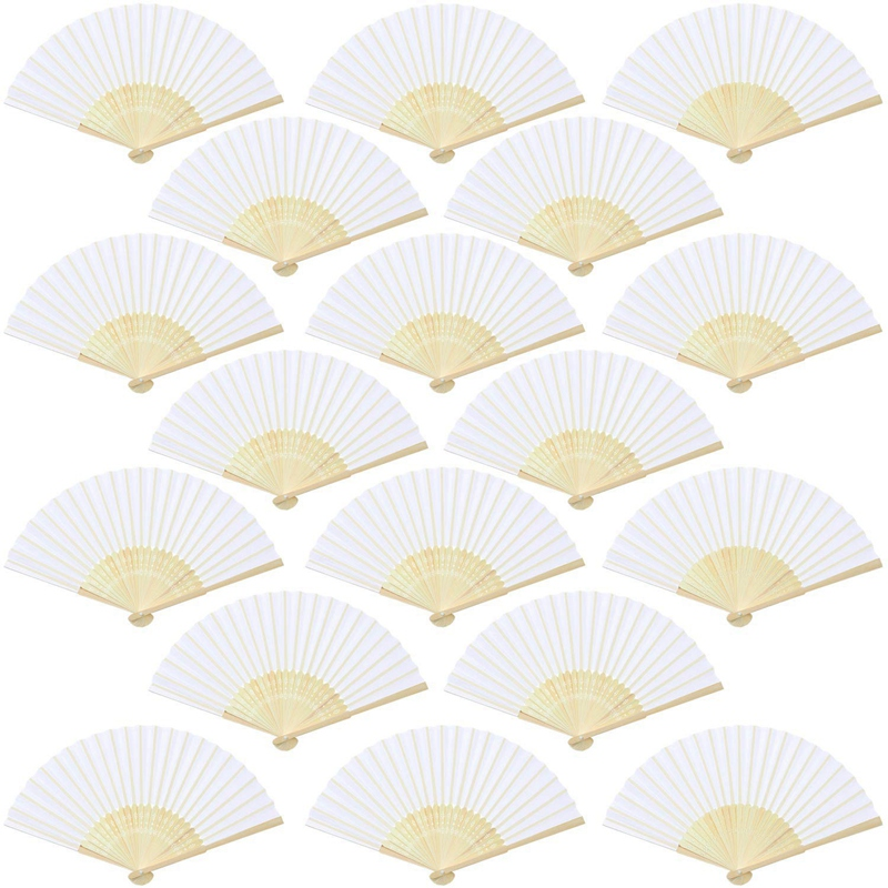 18 Pieces White Handheld Fans Cloth Fans Bamboo Folding Fans For Wedding Decoration,  Church Wedding Gifts,  Party Favors,  Diy