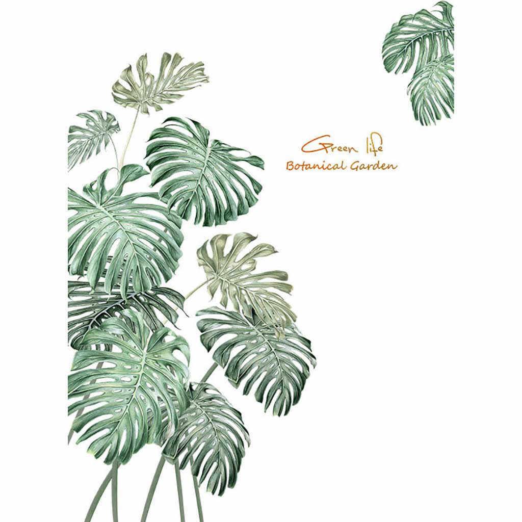 緑色植物壁ステッカー diy 牡丹バラの花ビーチ熱帯ヤシの葉壁のステッカー、現代アートビニールデカール壁壁画