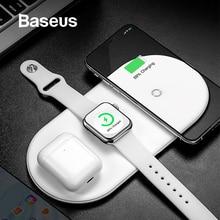 Беспроводное зарядное устройство Baseus для iPhone X XS MAX XR 8 быстрая Беспроводная Полная нагрузка 3 в 1 Зарядная площадка для Airpods Apple Watch 4 32