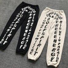 Calças compridas de algodão, calças masculinas e femininas de algodão, estampas de logotipo kardashianCalça Casual