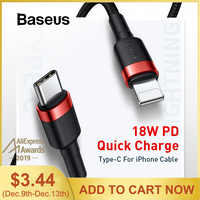 Baseus Type-C Cable For iPhone Cable Data Flash Charging Cable 18W PD Quick Charge Data Cable For iPhone 11 Pro XR XS 8 8 Plus
