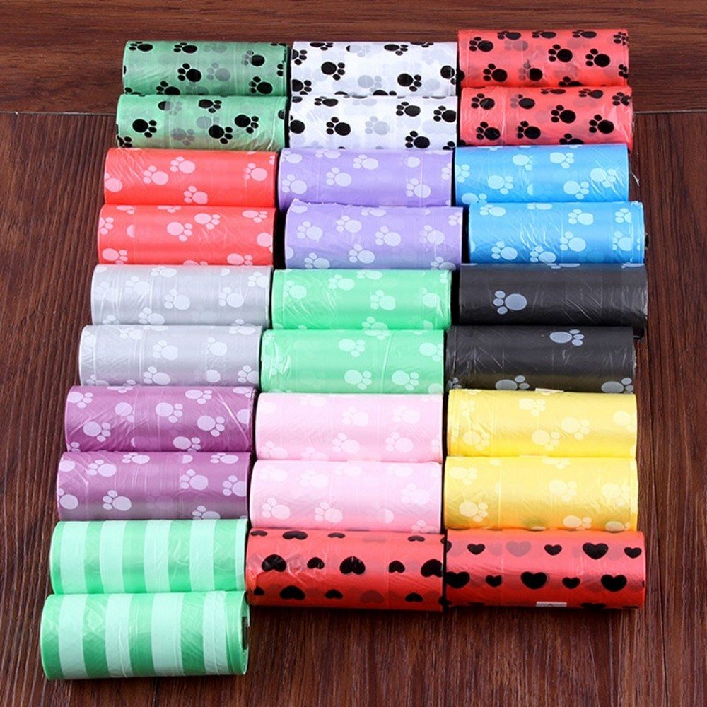 10 Pcs/lot Pet Dog Trash Bag 15 Pcs Bags In Each Roll Printing Cat Dog Poop Bags Outdoor Home Clean Refill Garbage Bag