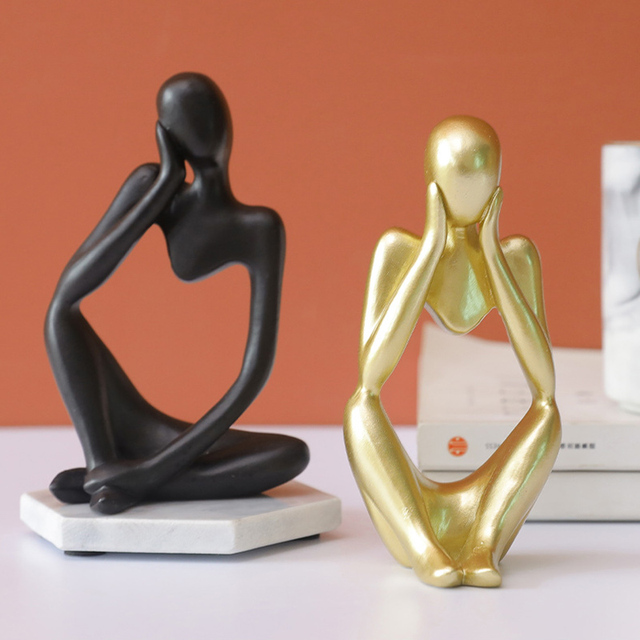 Abstract Thinker Statue Resin Sculpture Miniature Figurines Thinker Character European Style Office Home Decoration Accessories 6
