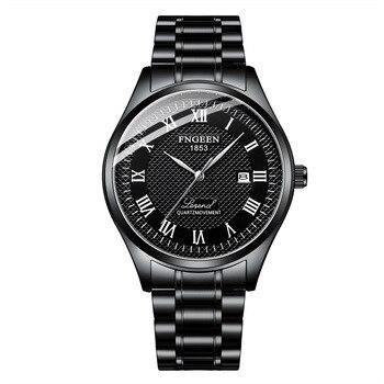 Luksusowa marka biznes mężczyźni non mechaniczne zegarki czarny człowiek zegarek 3Bar wodoodporne pełne stalowe męskie zegarki Montre Homme