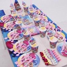 158/95 pcs הנצנוץ וברק ילדים מסיבת יום הולדת לטובת חד פעמי קישוטי אספקת כלי שולחן כוס מפית קש התפרצות כובע