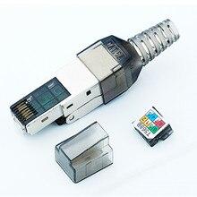 Cabeça de cristal protegida cat6a ethernet rj45 adaptador adsl modem cat6a plug tipos reusáveis cabeça cristal ethernet conector 10 gigabi