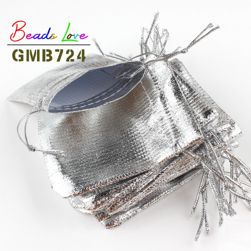 50Pcs/lot 7x9cm 9x12cm Silver Colors Fabric Bags Organza Jewelry Packaging Drawstring Velvet Gift Bags & Wedding Favor Pouches